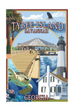 Tybee Island - Savannah, Georgia - Montage Prints by  Lantern Press