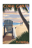 Coral Gables, Florida - Adirondack Chair on the Beach Art by  Lantern Press