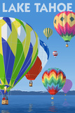 Lake Tahoe, California - Hot Air Baloons Scene Posters by  Lantern Press