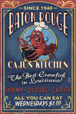 Baton Rouge, Louisiana - Cajun Kitchen Vintage Sign Prints by  Lantern Press
