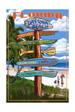 Daytona Beach, Florida - Sign Destinations Posters