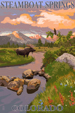 Steamboat Springs, Colorado - Moose and Meadow Scene Posters by  Lantern Press