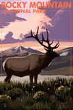 Rocky Mountain National Park - Elk and Sunset Posters