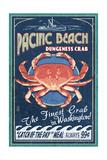 Pacific Beach, Washington - Dungeness Crab Vintage Sign Plakater af  Lantern Press