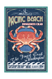 Pacific Beach, Washington - Dungeness Crab Vintage Sign Prints by  Lantern Press