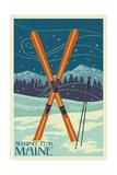 Shawnee Peak, Maine - Crossed Skis Posters