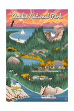Acadia National Park - Retro View Prints by  Lantern Press