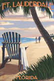 Ft. Lauderdale, Florida - Adirondack Chair on the Beach Prints by  Lantern Press