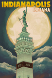 Indianapolis, Indiana - Soldiers' and Sailors' Monument and Moon Prints by  Lantern Press