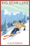Big Bear Lake - California - Downhill Skier Prints by  Lantern Press