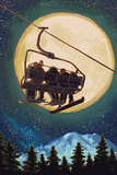 Lantern Press - Ski Lift and Full Moon with Snowboarder Obrazy
