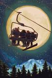 Lantern Press - Ski Lift and Full Moon with Snowboarder - Reprodüksiyon