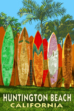 Huntington Beach, California - Surfboard Fence Posters by  Lantern Press