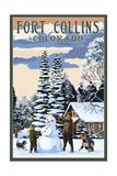 Fort Collins, Colorado - Snowman Scene Poster