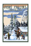Fort Collins, Colorado - Snowman Scene Poster by  Lantern Press