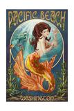 Pacific Beach, Washington - Mermaid Print