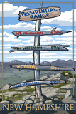 Presidential Range, New Hampshire - Destination Sign Poster by  Lantern Press