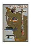 Olympic National Park - Map of Native Tribes Prints by  Lantern Press