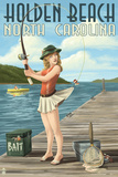 Holden Beach, North Carolina - Pinup Girl Fishing Prints by  Lantern Press