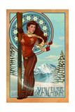 Art Nouveau Skier - Whistler, Canada Art by  Lantern Press