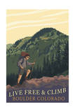 Boulder, Colorado - Live Free and Climb Prints by  Lantern Press