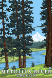 Metolius River, Oregon and Mt. Hood Art by  Lantern Press