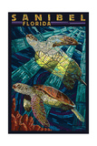 Sanibel, Florida - Sea Turtle Paper Mosaic Poster van  Lantern Press