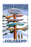 Copper Mountain, Colorado - Ski Signpost Art by  Lantern Press