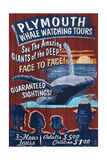 Plymouth, Massachusetts - Blue Whale Watching Vintage Sign Prints by  Lantern Press