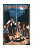 Cowboy Campfire Story Telling - Pendleton, Oregon Posters by  Lantern Press