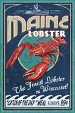 Wiscasset, Maine - Lobster Vintage Sign Kunstdrucke von  Lantern Press