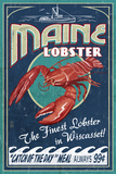 Wiscasset, Maine - Lobster Vintage Sign Prints by  Lantern Press