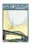 Port Huron, Michigan - Nautical Chart Prints by  Lantern Press