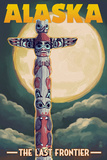 Alaska - Totem Pole and Full Moon Prints by  Lantern Press