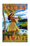 Hula Girl on Coast - Honolulu, Hawaii Prints by  Lantern Press
