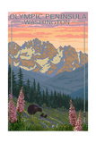 Olympic Peninsula, Washington - Bears and Spring Flowers Posters by  Lantern Press