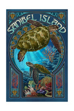Sanibel Island, Florida - Sea Turtle Art Nouveau Art by  Lantern Press