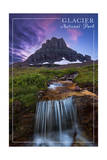 Glacier National Park, Montana - Mt. Reynolds and Waterfall Print by  Lantern Press