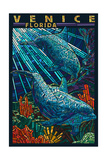 Venice, Florida - Dolphins Paper Mosaic Posters by  Lantern Press