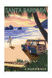 Santa Barbara, California - Woody on Beach Posters by  Lantern Press