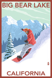 Big Bear Lake - California - Snowboarder Prints by  Lantern Press