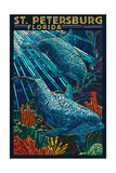 St. Petersburg, Florida - Dolphins Paper Mosaic Prints by  Lantern Press