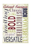 Cabernet Sauvignon Typography Prints by  Lantern Press