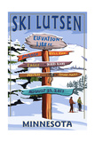 Lutsen Mountains - Ski Signpost Posters by  Lantern Press