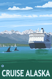 Alaska - Cruise Ship and Whales Posters by  Lantern Press