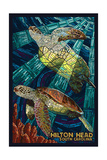 Hilton Head, South Carolina - Mosaic Sea Turtles Prints by  Lantern Press