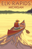 Elk Rapids, Michigan - Canoe Scene Posters by  Lantern Press
