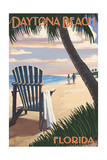 Daytona Beach, Florida - Adirondack Chair on the Beach Posters