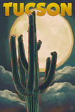 Tucson, Arizona Cactus and Full Moon Plakater av  Lantern Press