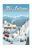 Lutsen Mountains - Retro Ski Resort Print by  Lantern Press